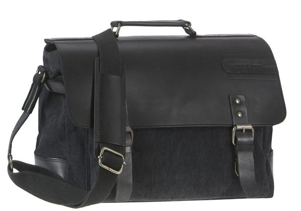 Greenburry Black Sails Leder Canvas Aktenmappe